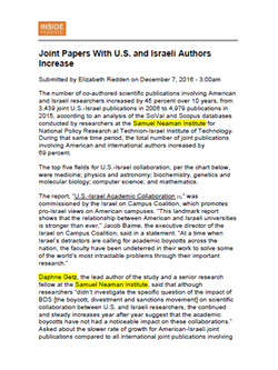 Joint Papers With U.S. and Israeli Authors Increase