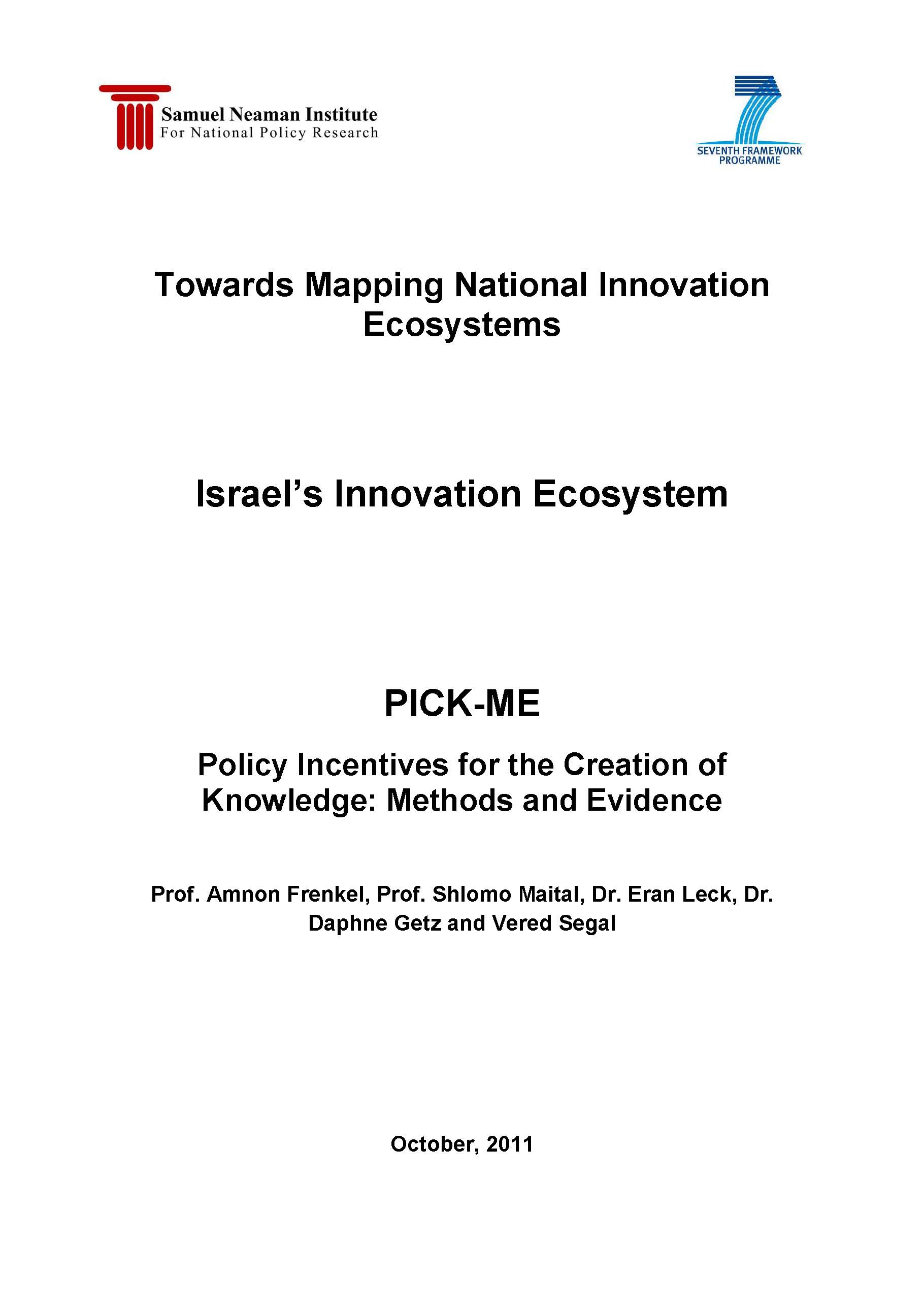 Towards Mapping National Innovation Ecosystem: Israel