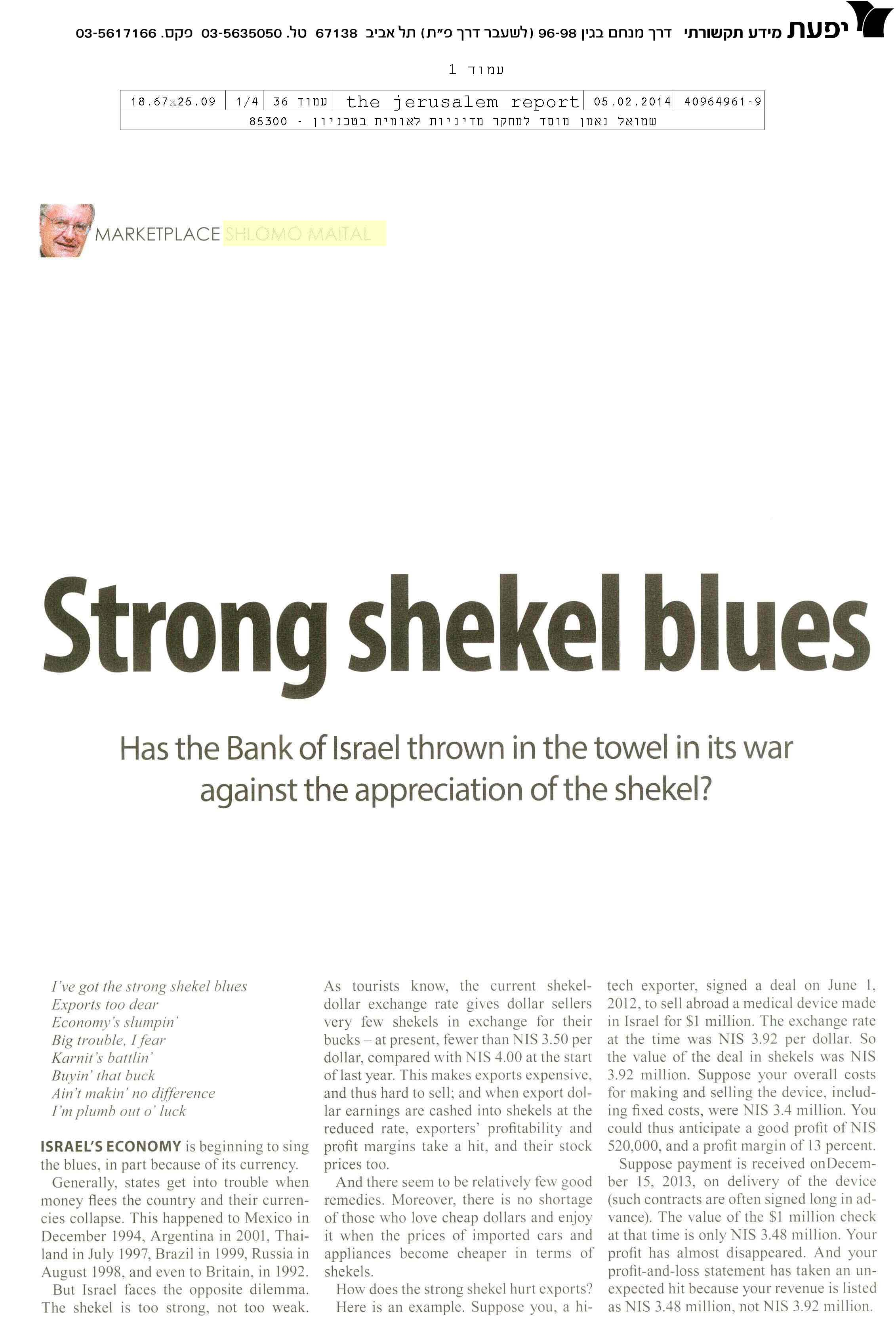 Strong shekel blues
